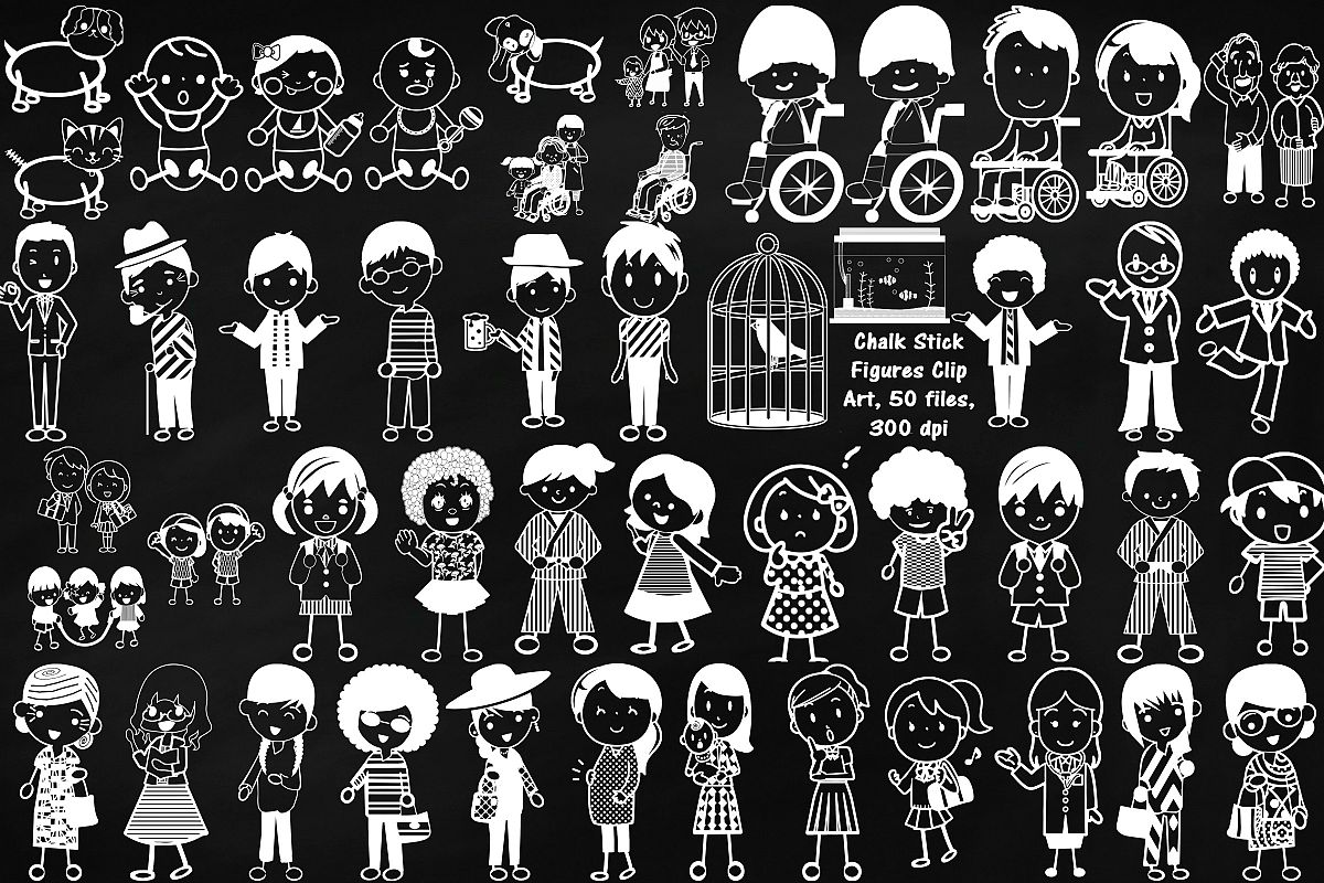 Chalk Stick People of Many Kinds Clip Art example image 1
