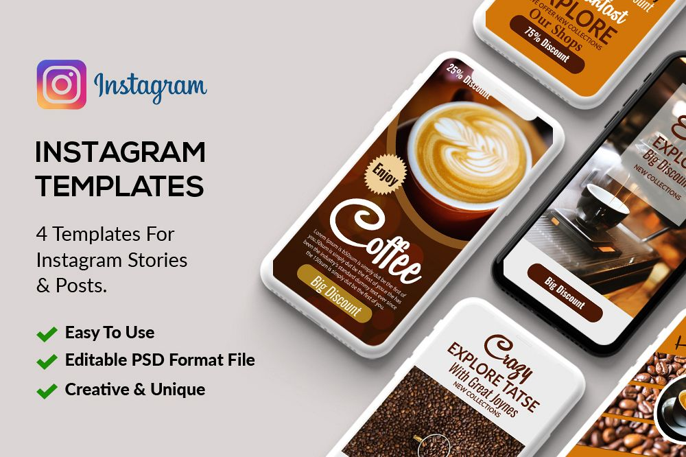 4 PSD Instagram Coffee Stories Template example image 1