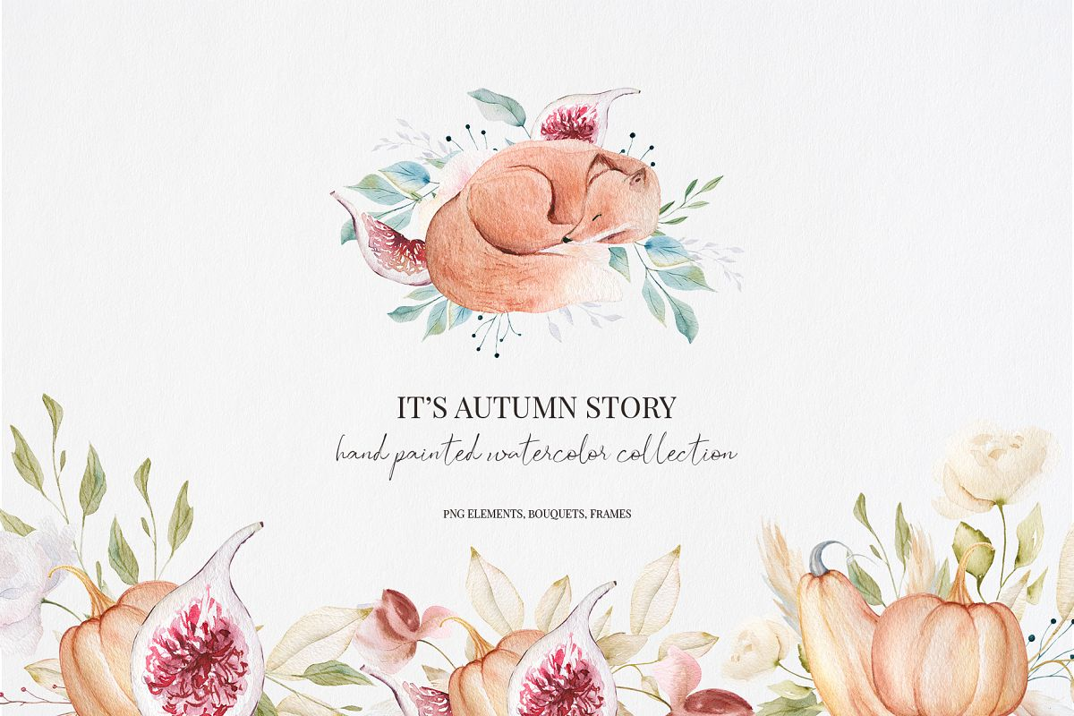 It's Autumn Story Collection, watercolor autumn fox, fall example image 1