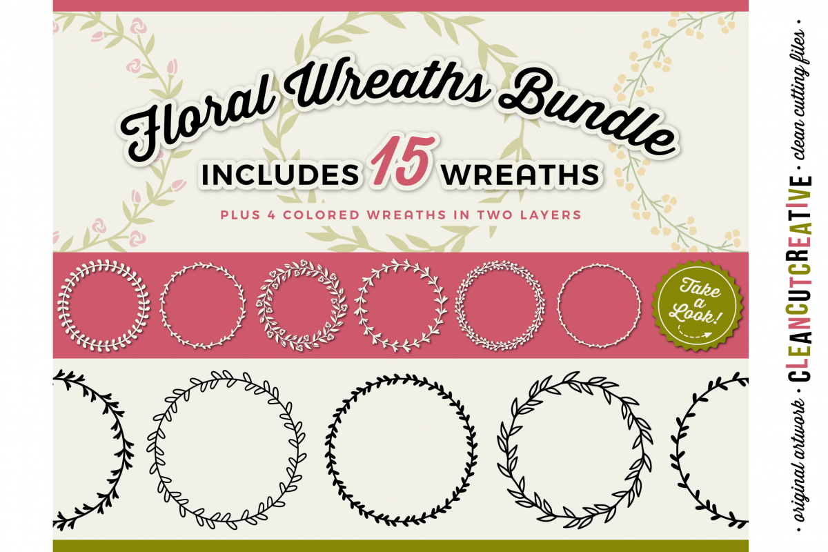 15 svg FLORAL WREATHS floral leaf circleframes - SVG DXF EPS PNG - for Cricut and Silhouette Cameo - clean cutting digital files example image 1