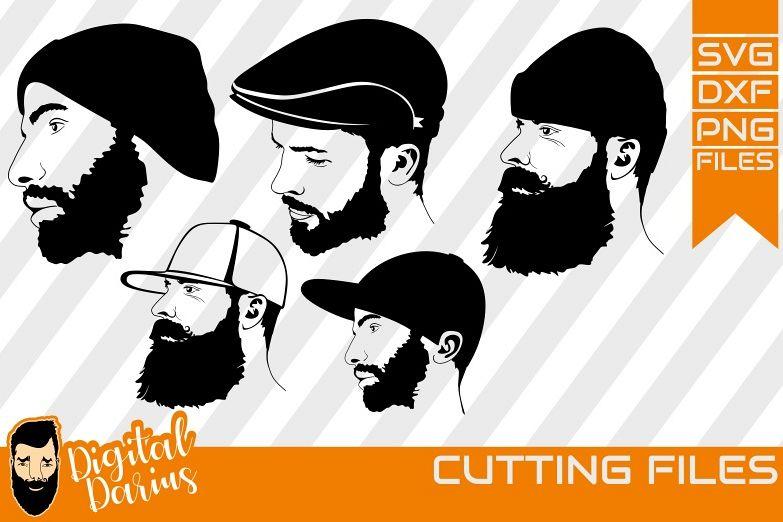 5x Beard man with cap svg, Man face SVG, Man svg, Long beard example image 1