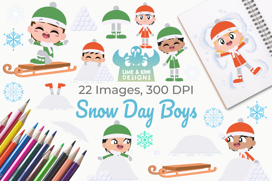 Snow Day Boys Clipart, Instant Download Vector Art example image 1