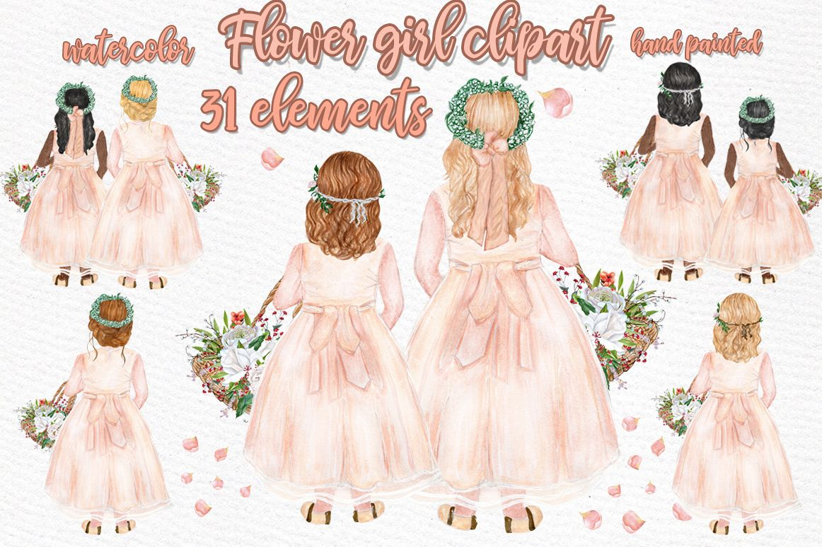 Flower girl clipart Wedding clipart example image 1
