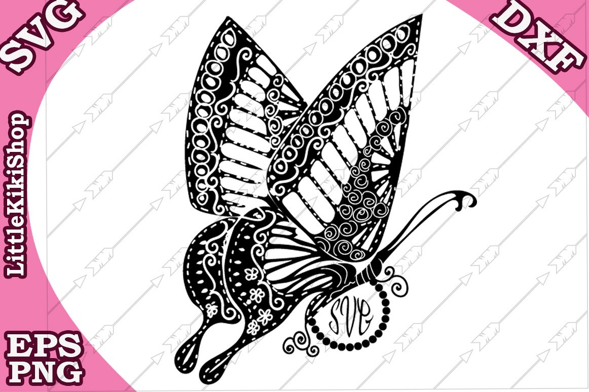 Zentangle Butterfly Monogram Svg, Mandala Butterfly Svg example image 1
