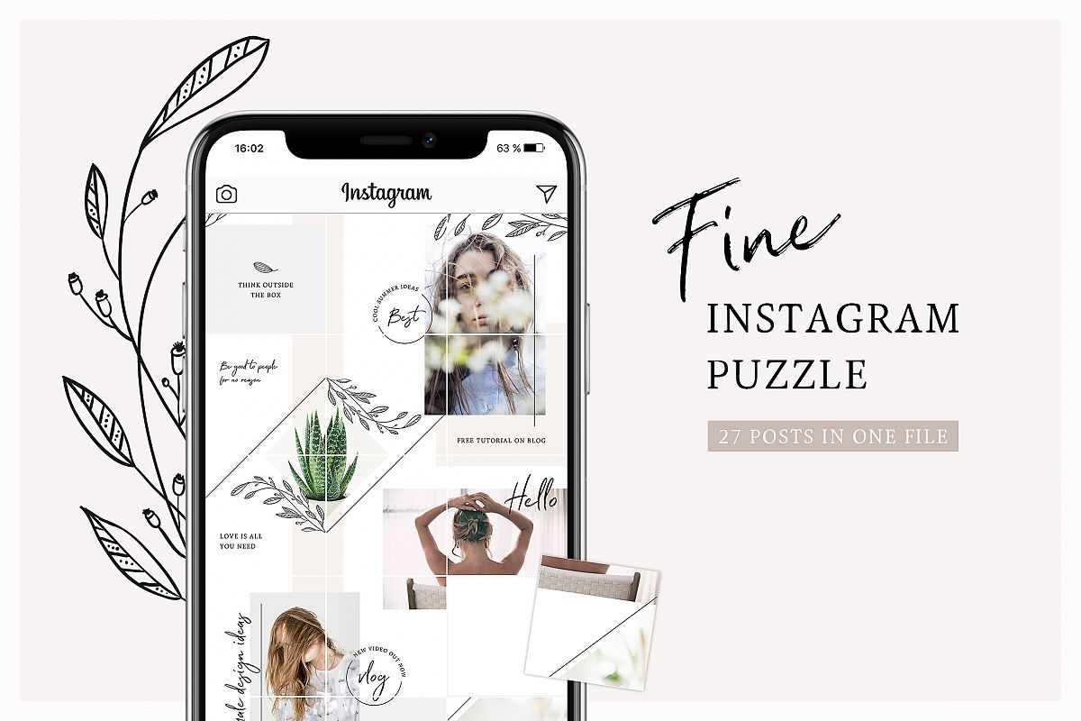 Fine Instagram Puzzle Template example image 1
