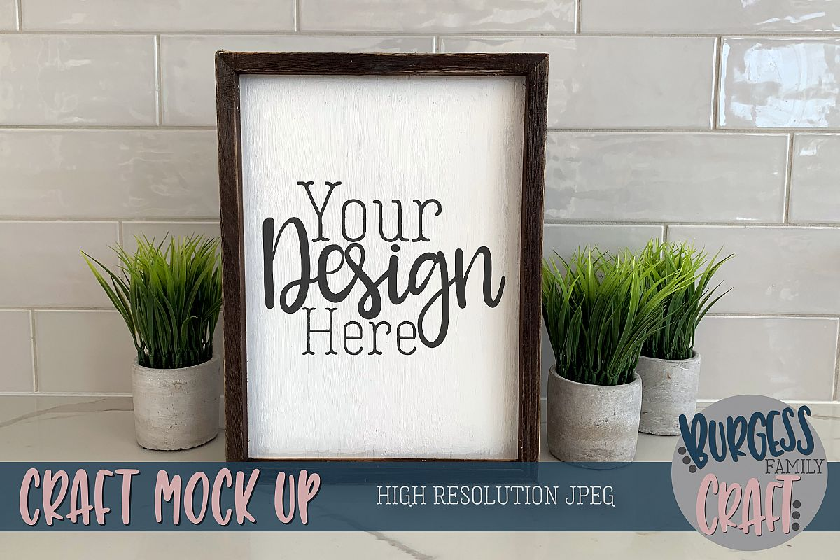 Wood sign portrait plants Craft mock up |High Res JPEG example image 1