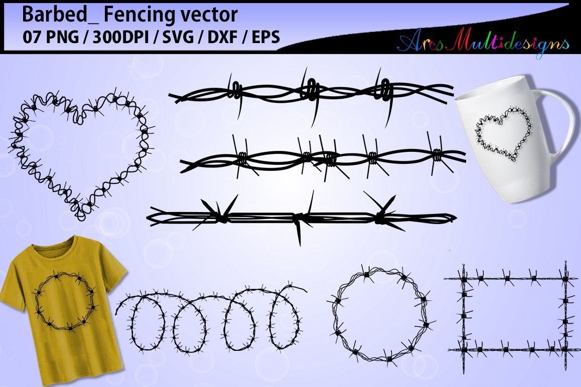 Barbed wire silhouette svg / barbed wire pack vector / fence svg / barbed wire example image 1