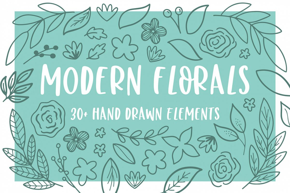 Modern Florals, Hand Drawn Elements & Illustrations example image 1
