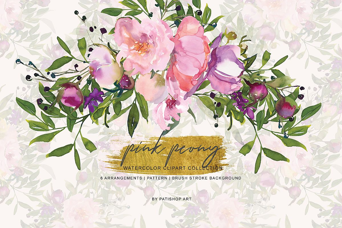 Watercolor Pink Peony Collection example image 1