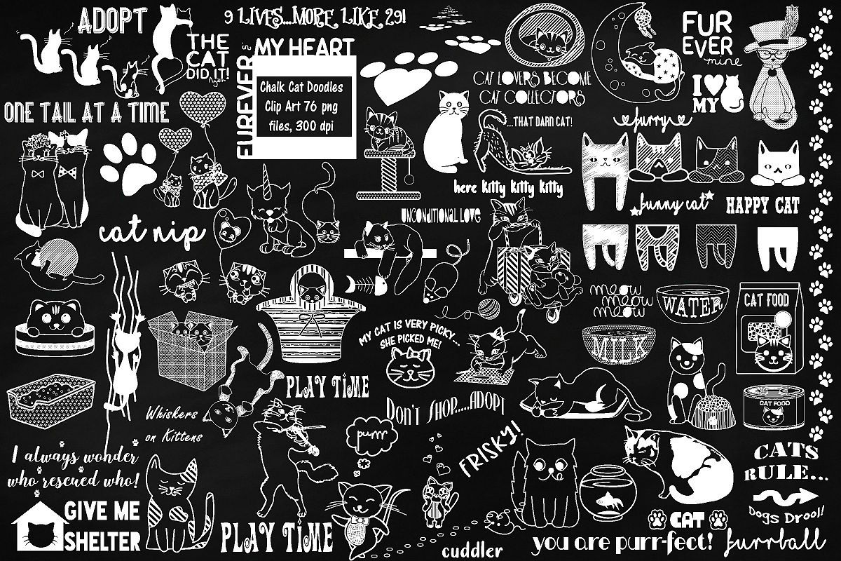 Chalk Cat Doodles Clip Art example image 1