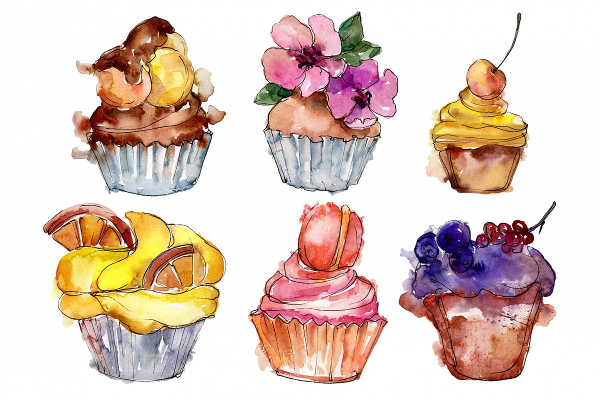 Dessert Friday Watercolor png example image 1