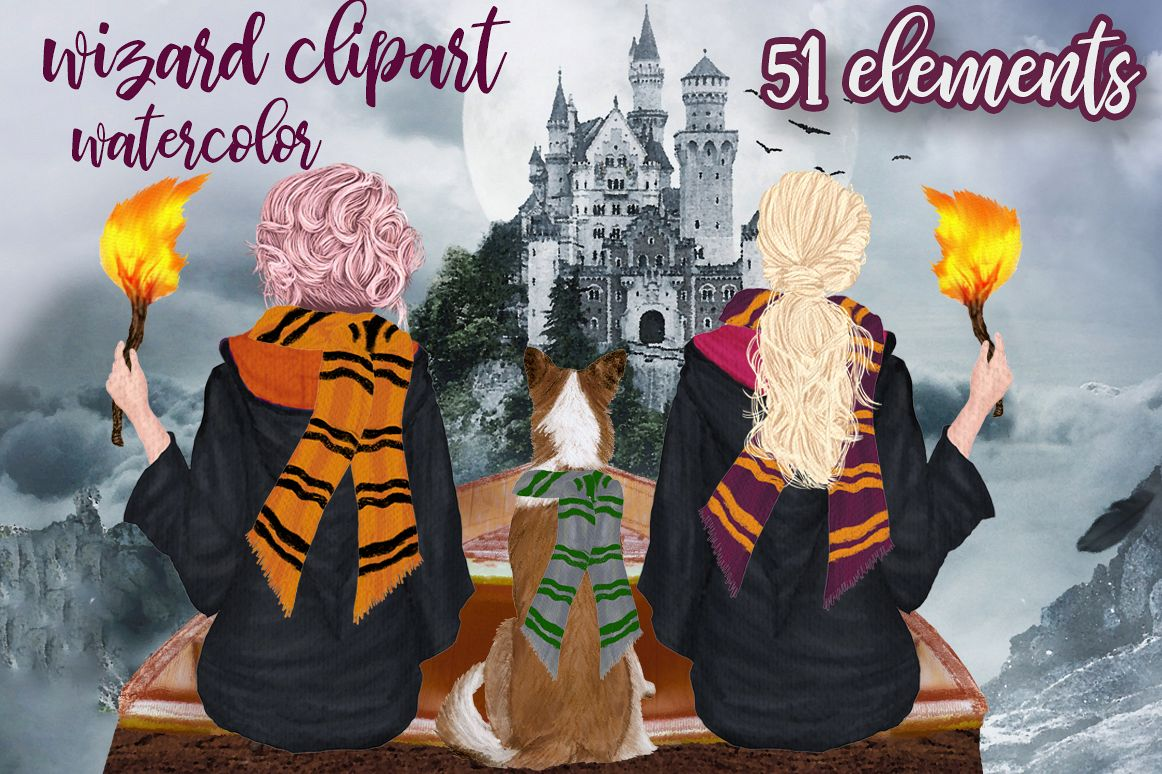 Wizard Girls, Castel Landscape, Dog clipart Wizard friends example image 1