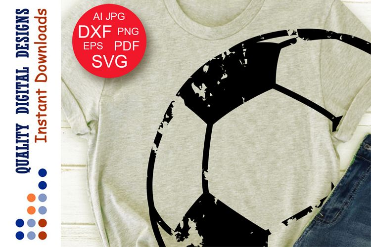 Soccer ball svg Grunge Sports shirts example image 1