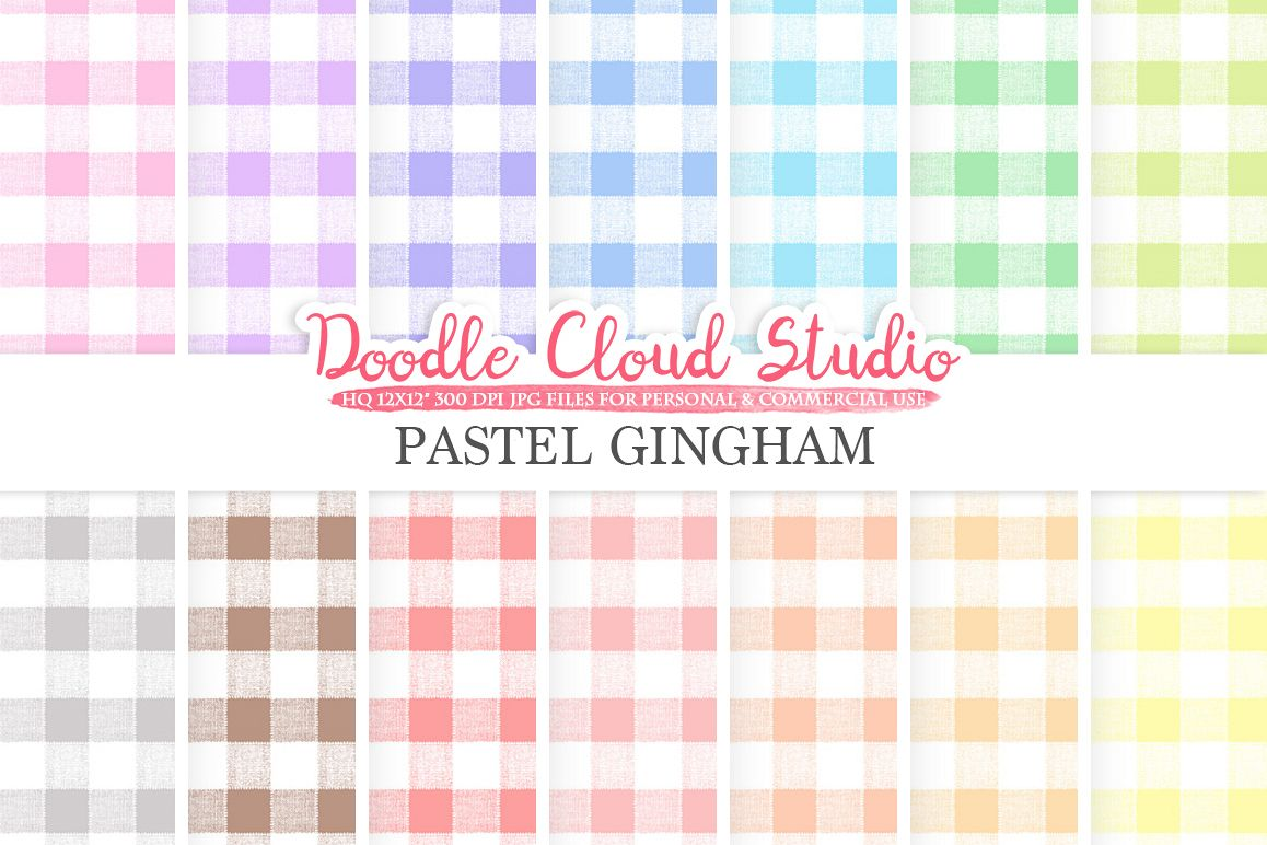 Pastel Gingham digital paper, realistic Tablecloth Picnic pattern, pastel colors background, Instant Download for Personal & Commercial Use example image 1