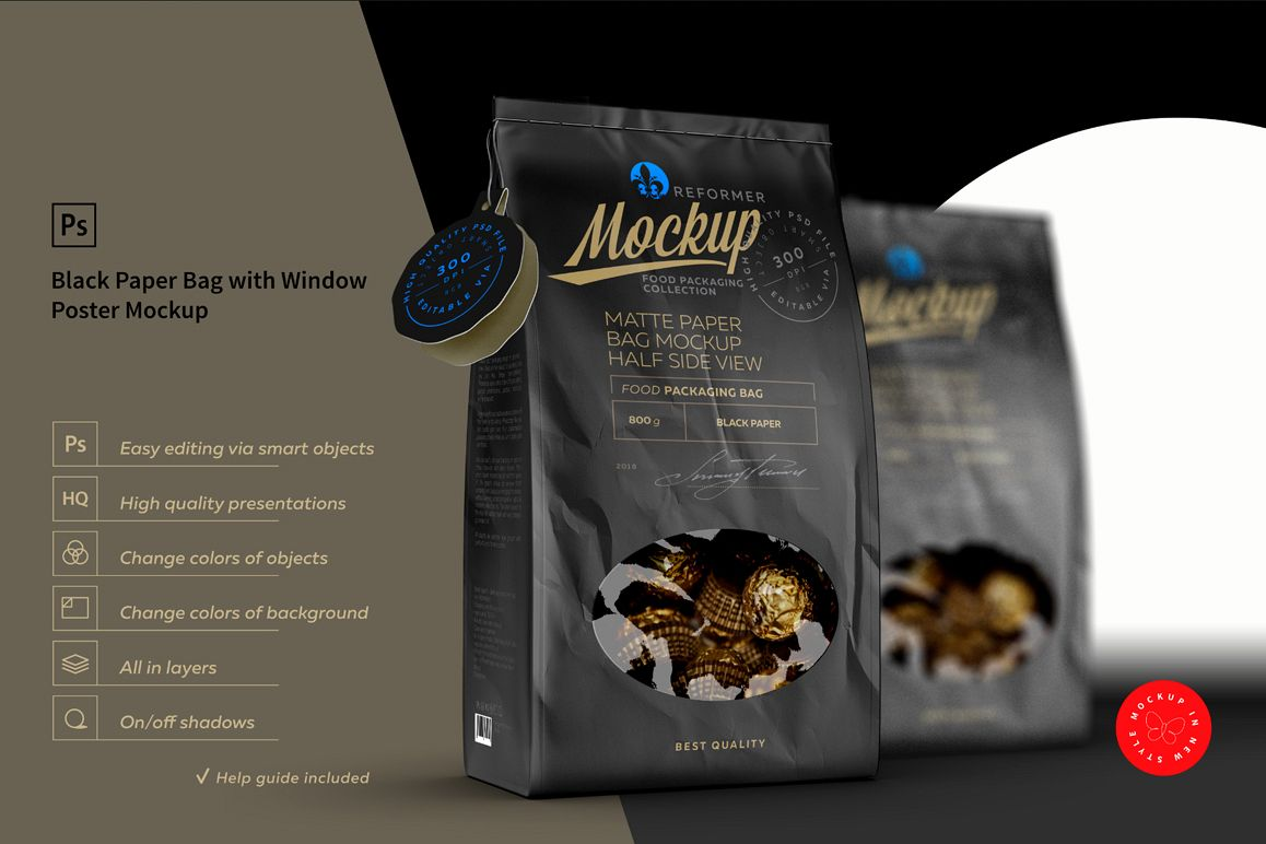 Black Paper Bag with Window Poster Mockup example image 1