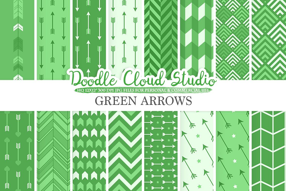 Dark Green Arrows digital paper, Arrow patterns, tribal, archery, chevron triangles backgrounds Instant Download, Personal & Commercial Use example image 1