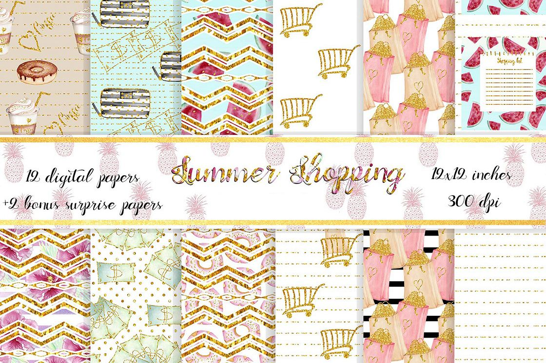 Summer Shopping digital background papers example image 1
