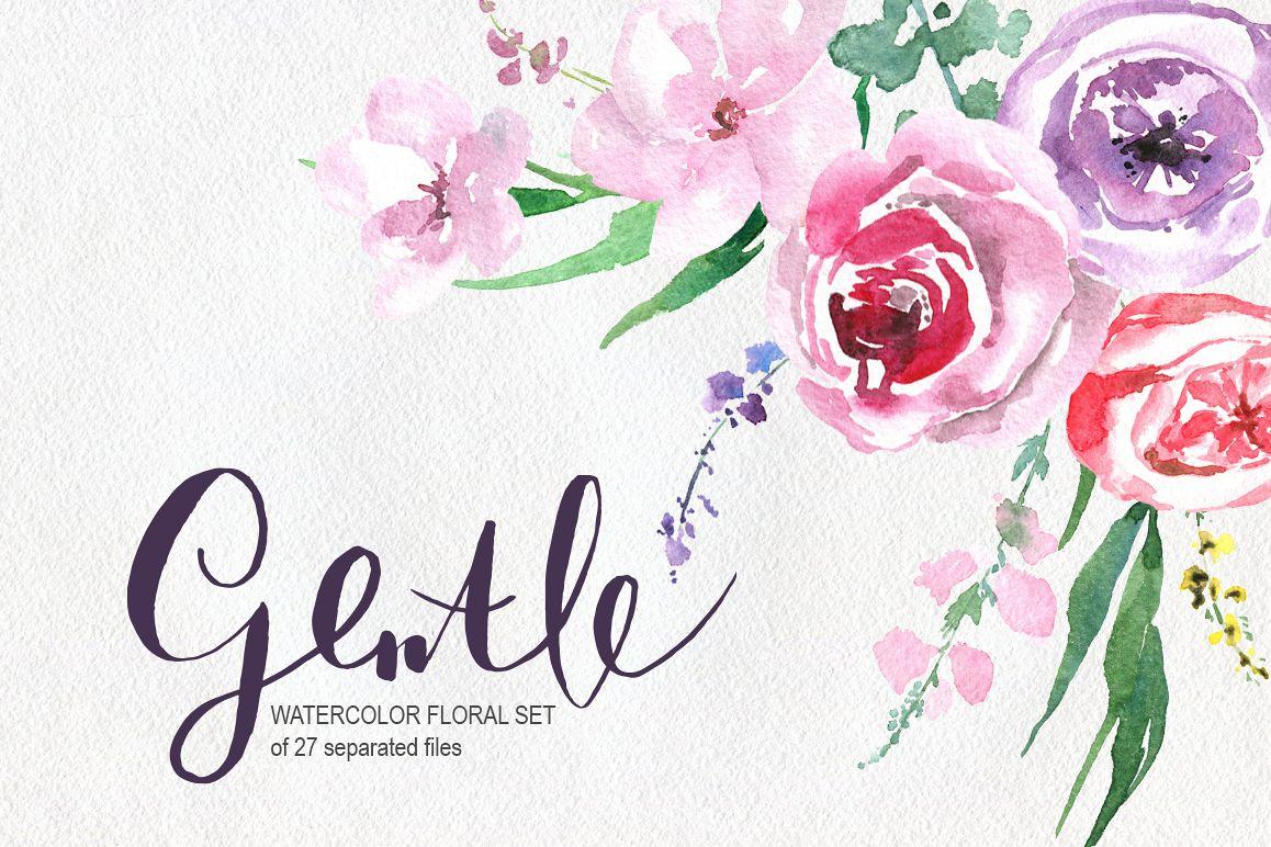 Gentle watercolor flowers, leaves example image 1