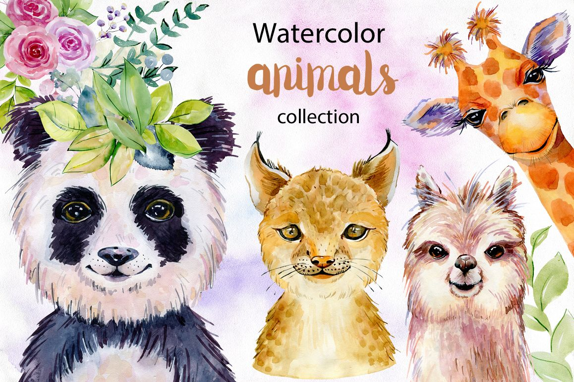 Animals. Watercolor collection. example image 1