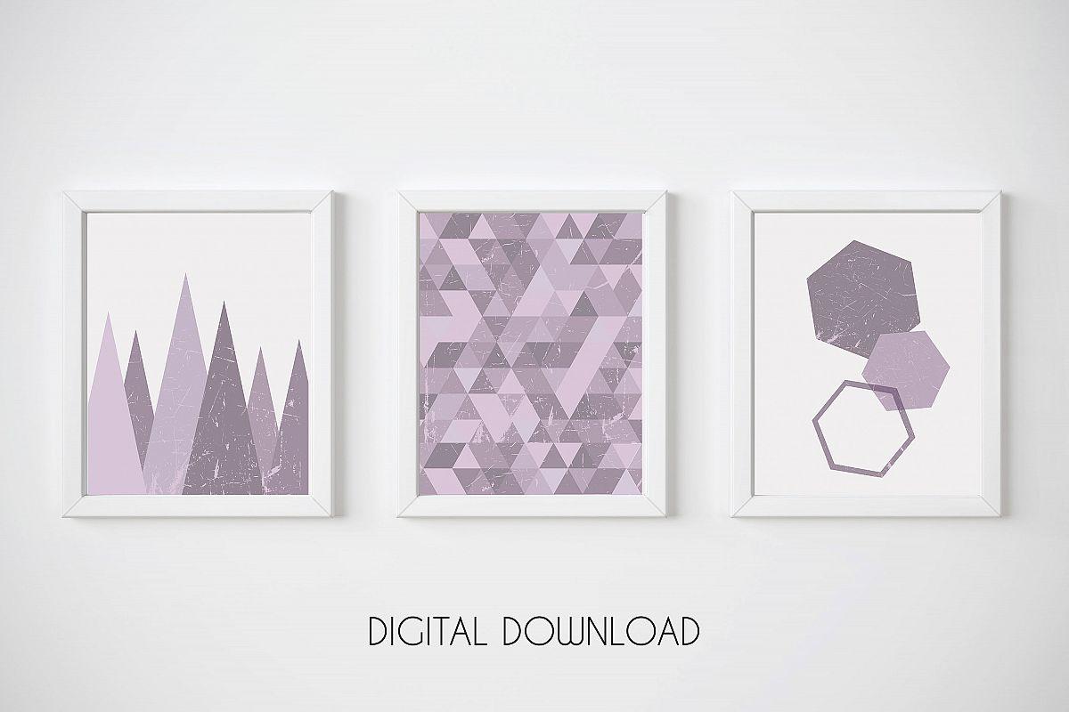 Purple Wall Art Prints, Geometric Print Set, Triangle Poster example image 1