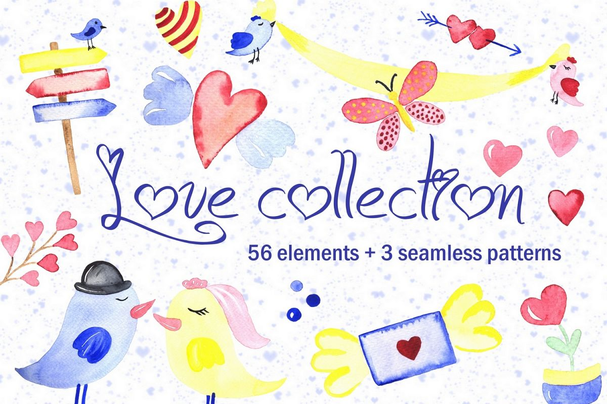 Love collection. Elements patterns example image 1