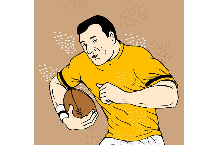 rugby player running with the ball example image 1