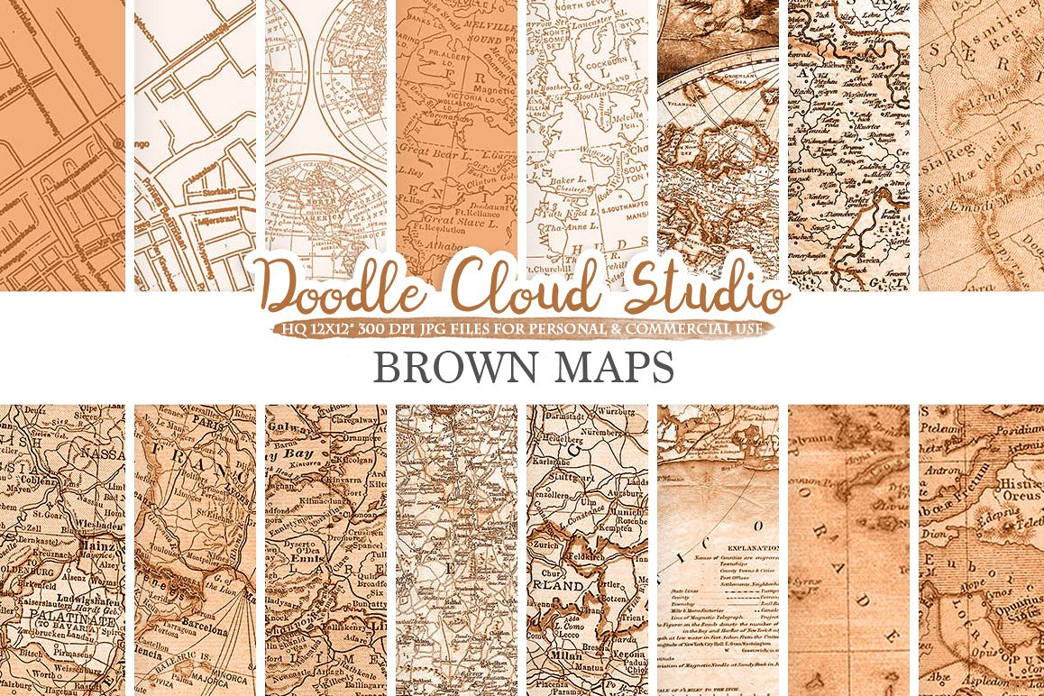 Brown Vintage Maps digital paper, Old World Map, City Map, Nautical ...