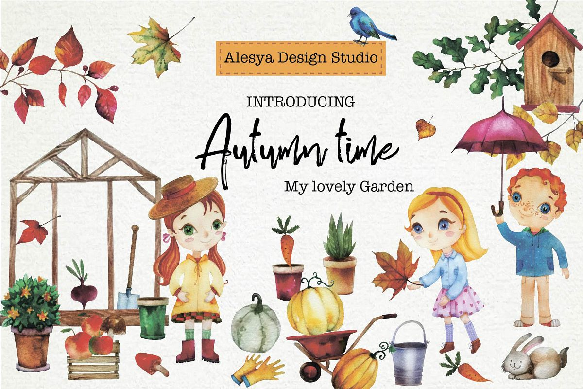 Autumn. My favorite garden. Watercolor illustration. example image 1