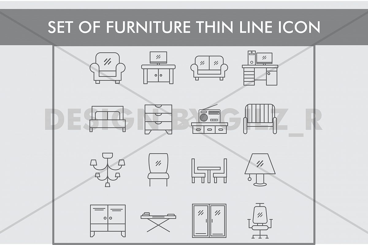 Set of Furniture Thin Line Icons example image 1