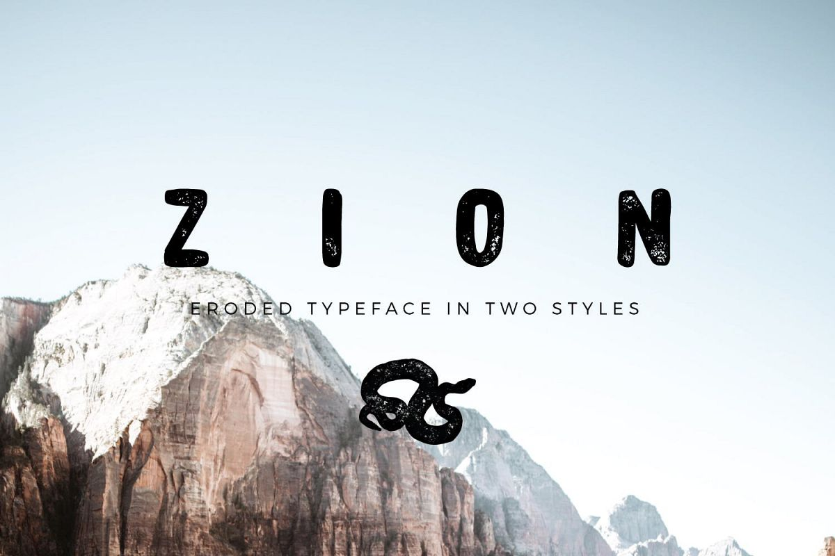 Zion | An Eroded Grunge Font example image 1