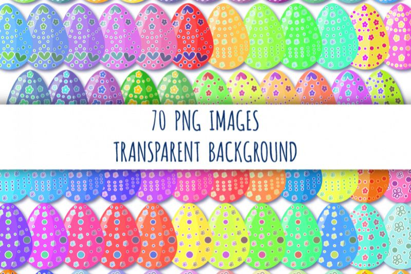70 Easter eggs clipart. Decorated easter eggs. Colorful eggs example image 1