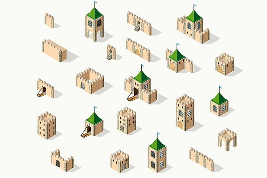 Medieval fortress fort. Isometric view example image 1
