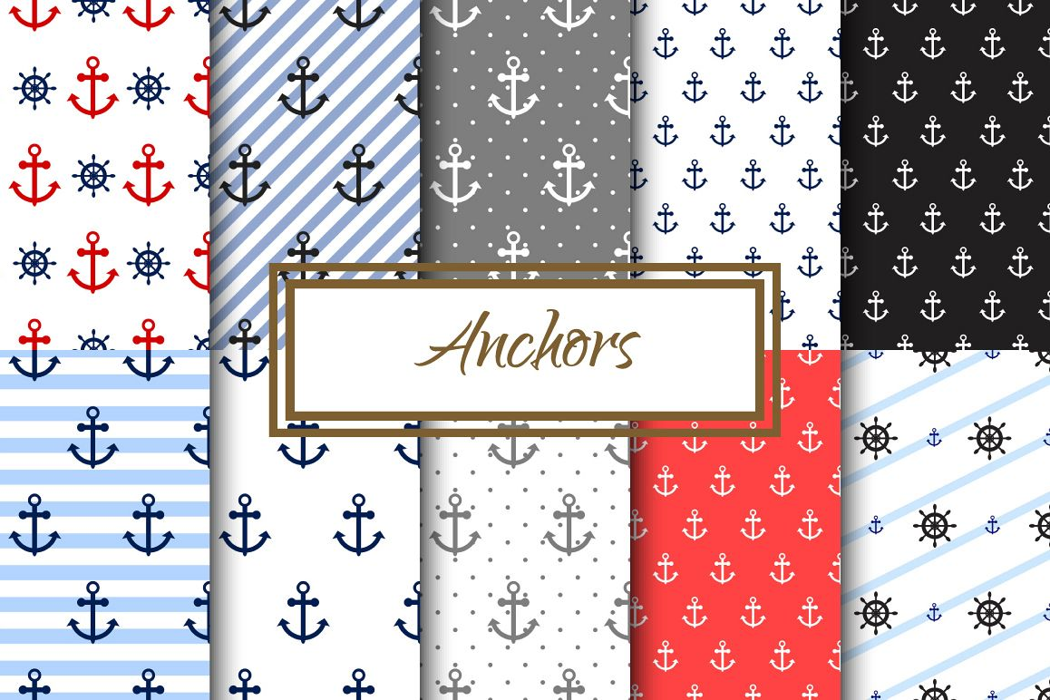 Nautical Anchors Seamless Pack example image 1