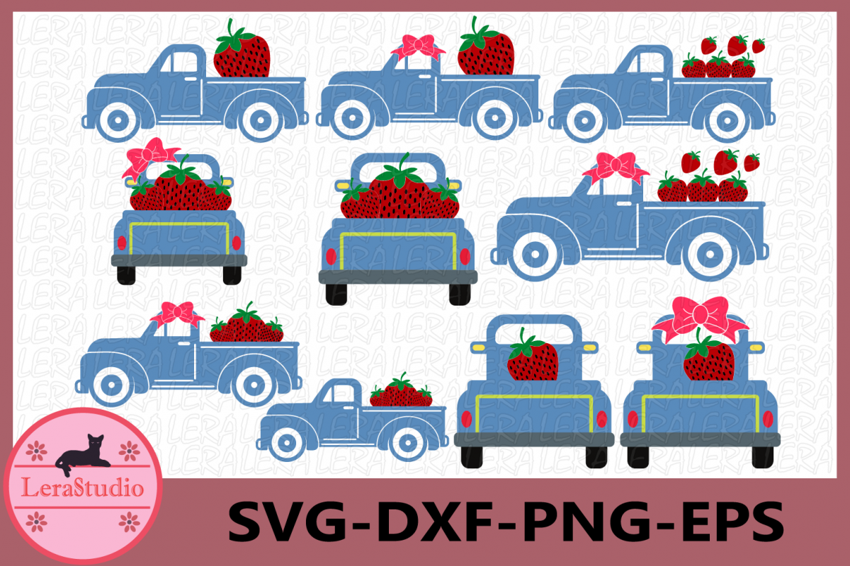 Strawberry SVG, Truck Svg, Truck Strawberry svg, Cricut example image 1