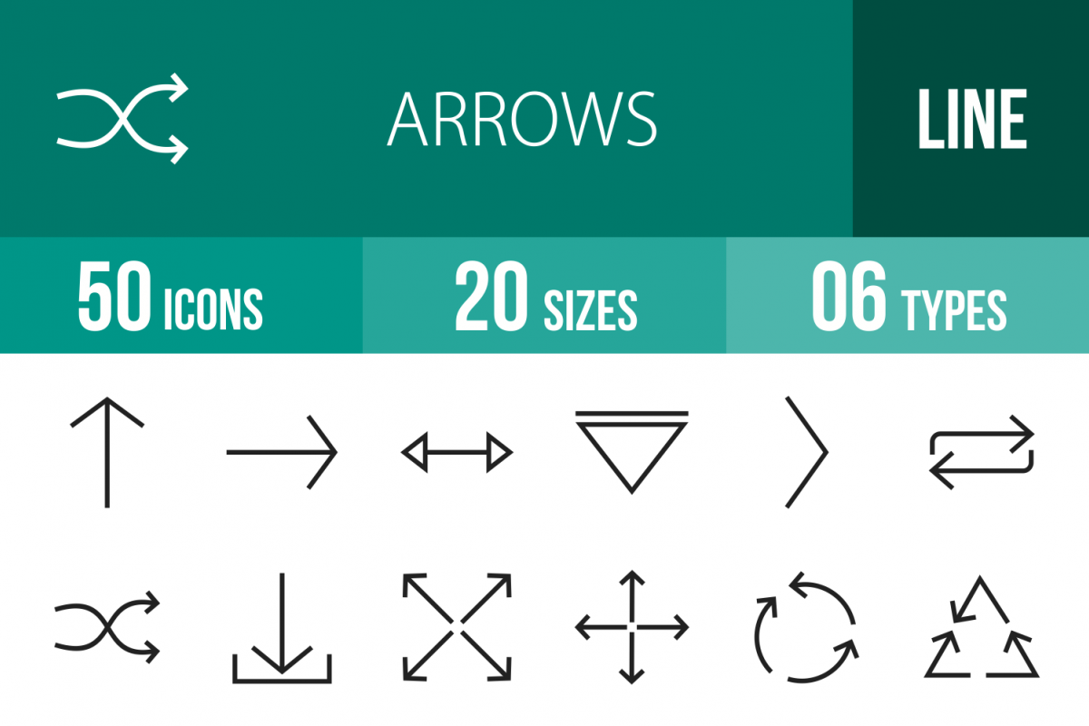 50 Arrows Line Icons example image 1