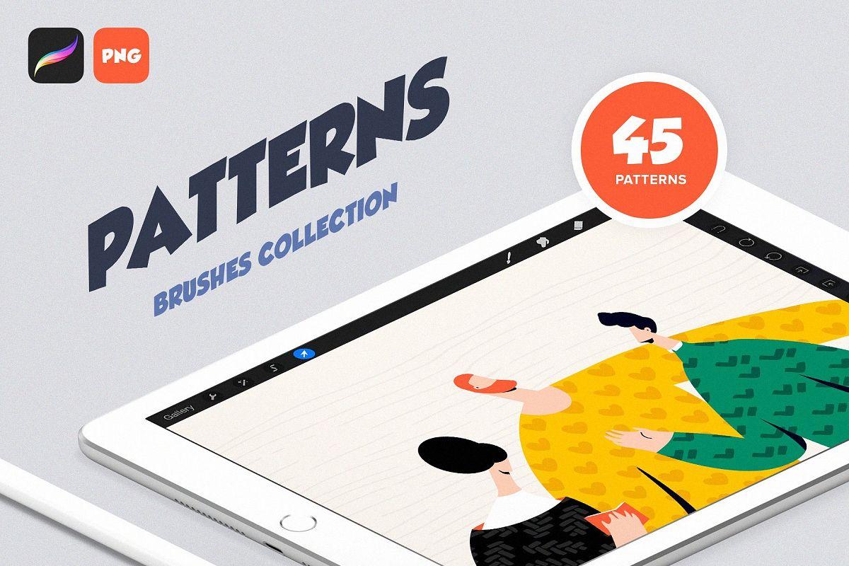 Procreate Patterns Brushes Set example image 1