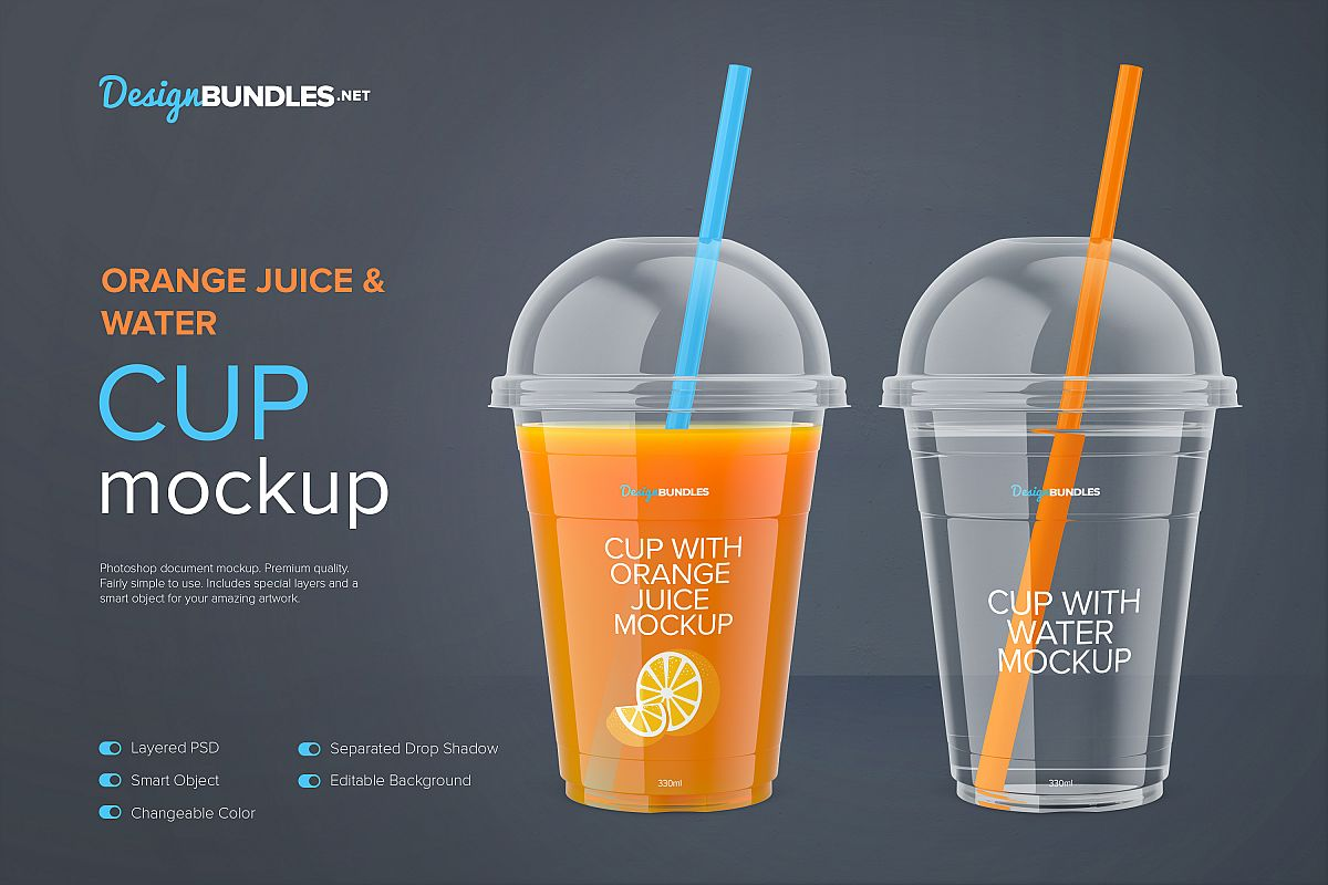 Cup With Orange Juice Mockup Front View