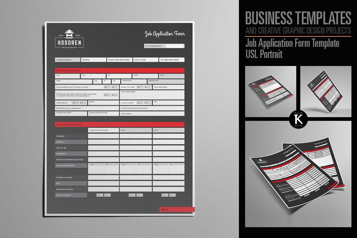 Job Application Form Template Usl Portrait