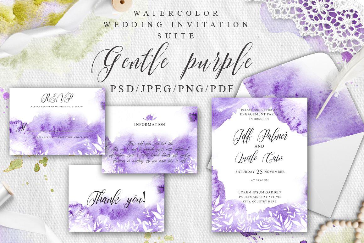 Gentle purple Watercolor Spring Wedding Invitation suite example image 1