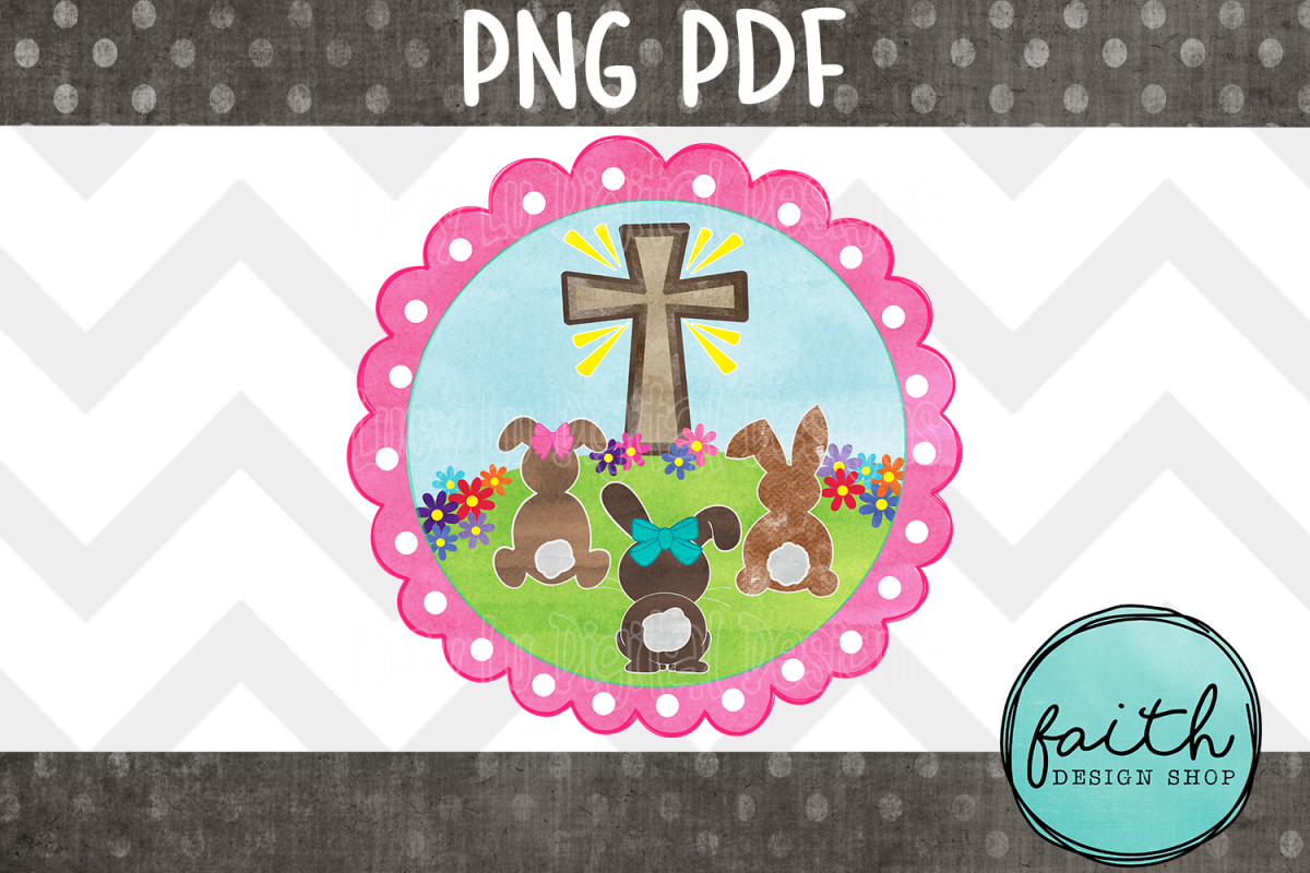 EASTER - Cross and Bunnies - Pink Frame, pdf, png example image 1