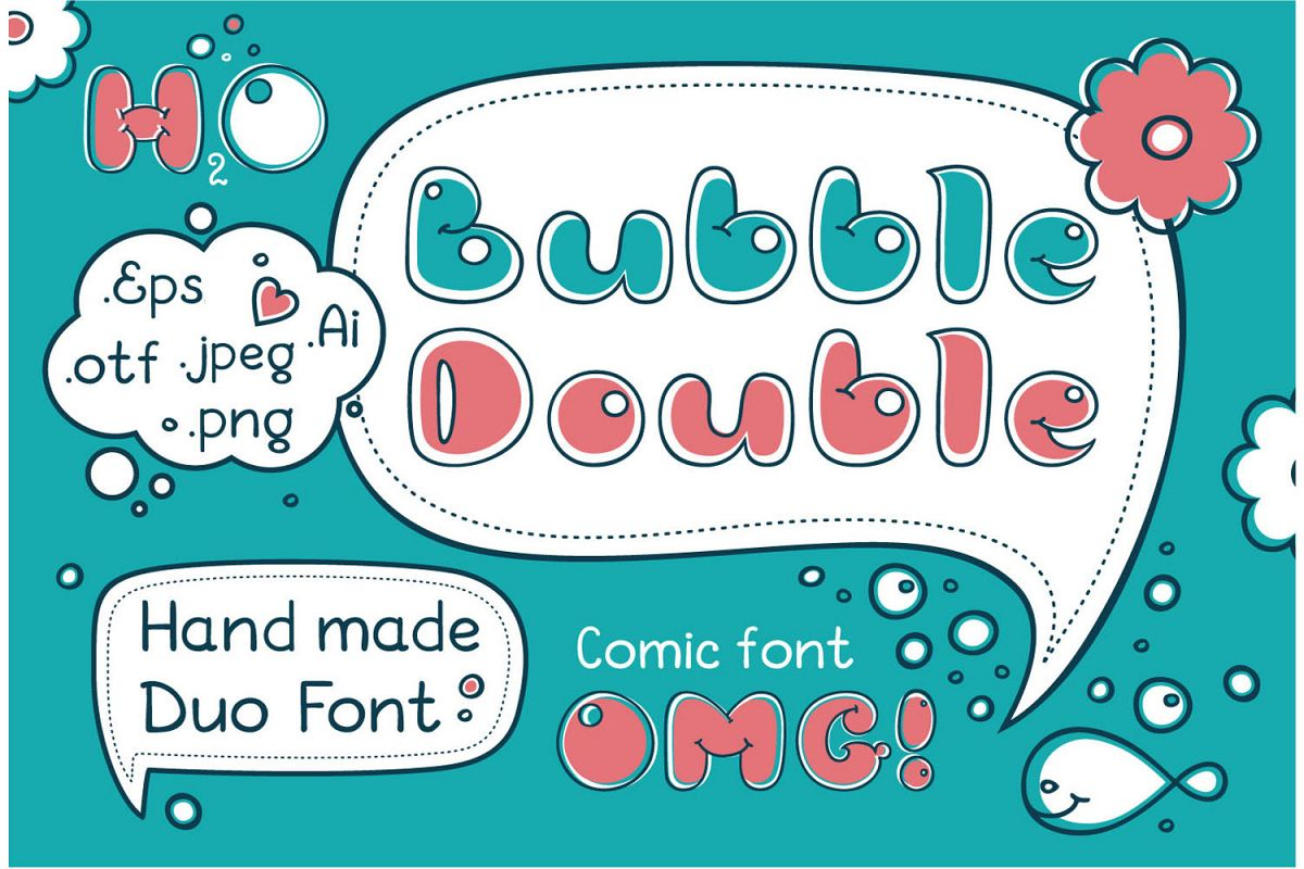 Bubble Double Duo font. Comic Alphabet. Handwritten calligraphy lettering for phrase and quotes.  example image 1