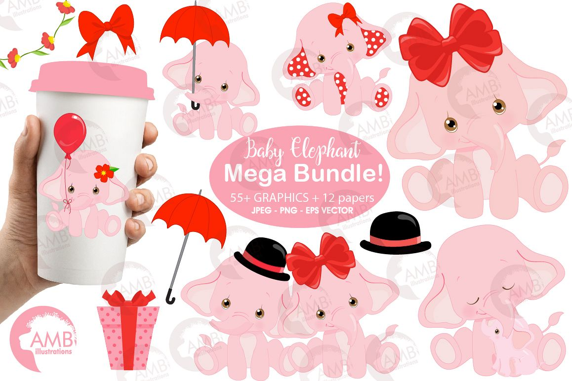 ELEPHANT babies in pink! BUNDLE! 53 cliparts, graphics and illustrations and Patterns AMB-2276 example image 1