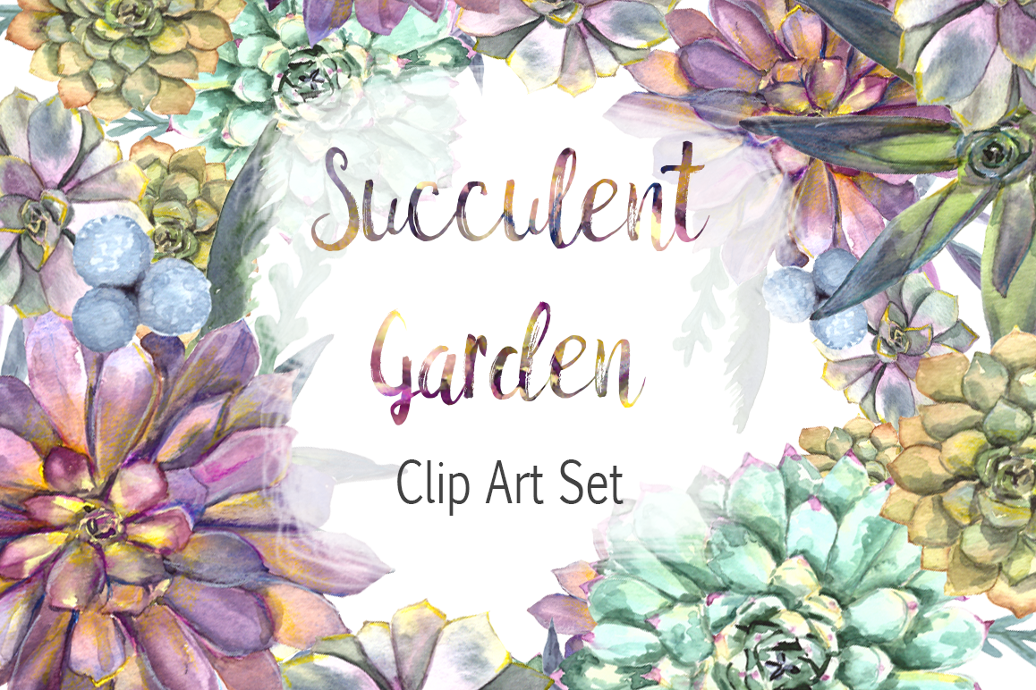 Watercolor Succulent Garden Clip Art Set example image 1