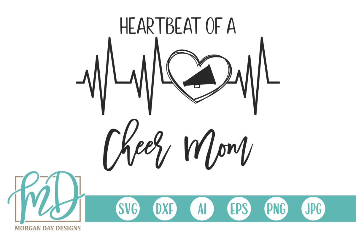 Cheer Mom - Heartbeat Of A Cheer Mom SVG example image 1