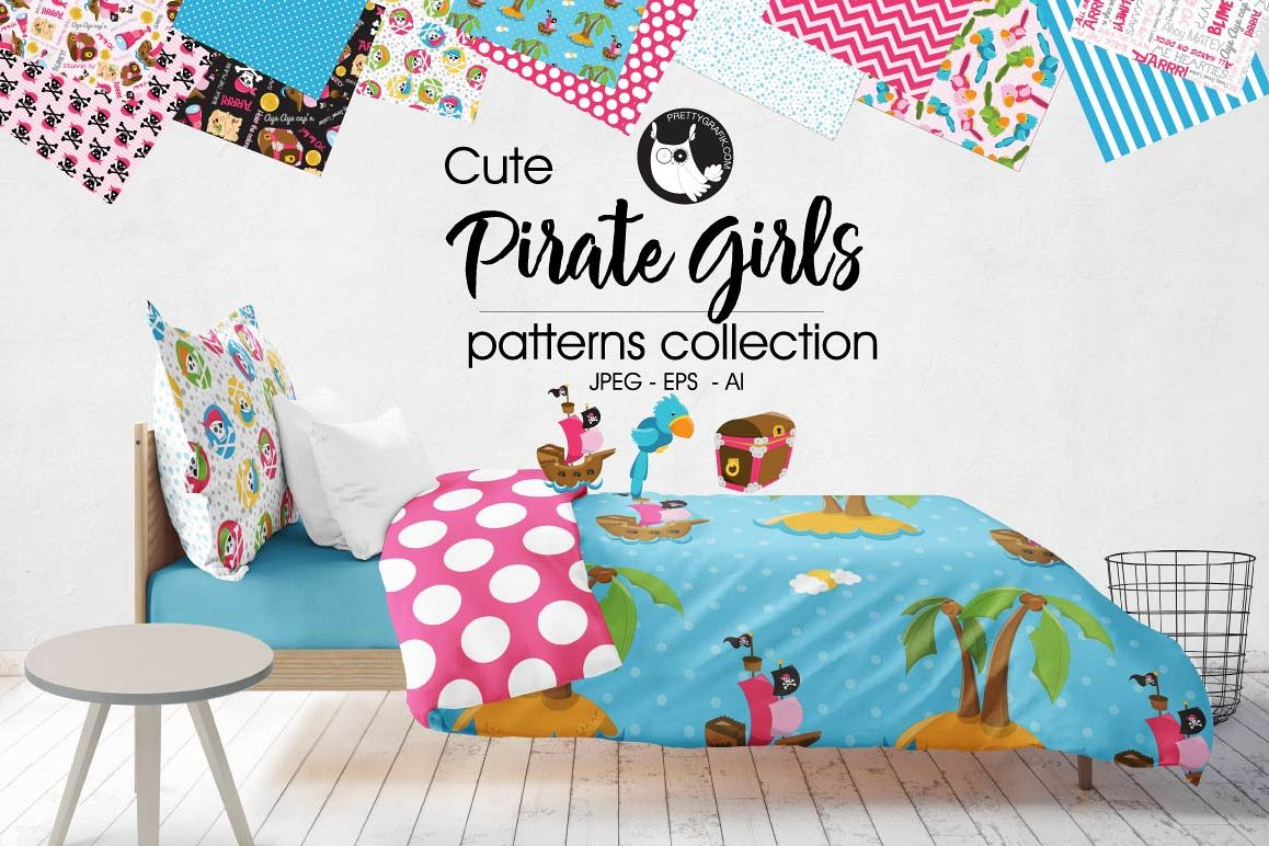 pirate girls, digital papers example image 1