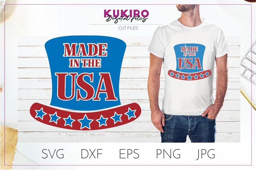 Made in the USA SVG - 4th Of July shirt design - Cut file example image 1