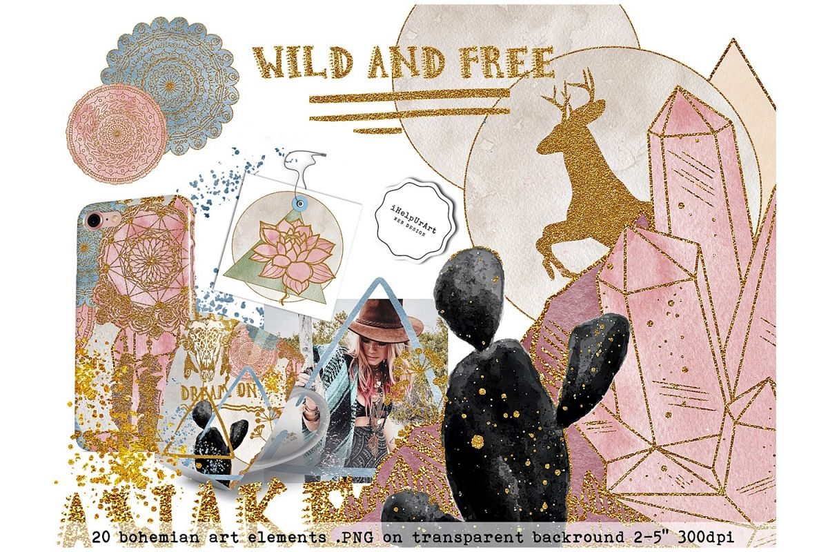 Wild and Free - Boho clipart  example image 1