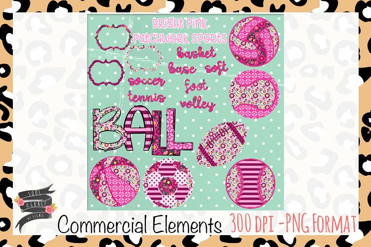Bright Pink Patchwork Sports Commercial Elements example image 1