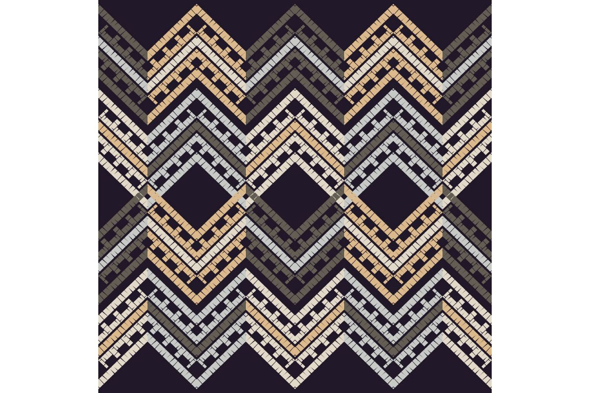 Ethnic boho ornament. Zigzag. Set of 10 seamless patterns. example image 1