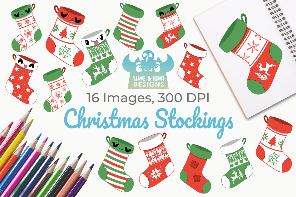 Christmas Stocking Clipart.Christmas Stockings Clipart Instant Download Vector Art
